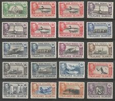 FALKLAND IS SG146-63 THE 1938-50 GVI SET OF 18 + 2 SHADES  MOUNTED MINT CAT£500+