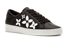 NIB Size 11 Michael Kors Black Premium Leather Lola Flower Fashion Sneaker $140