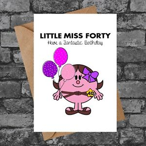 BC092 LITTLE MISS FORTY FUNNY CHEEKY RUDE 40TH BIRTHDAY CARD