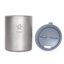 Double Wall Titanium Mug  with Lid 450 ML(DML450) and FREE Titanium Dog tag