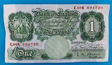 Bank of England L.K. O'Brien 1 Pound Pfund Banknote bill E69K894720 1955-1962