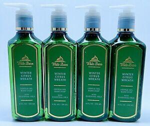 4 BATH & BODY WORKS WHITE BARN WINTER CITRUS WREATH GENTLE GEL HAND SOAP 8 oz