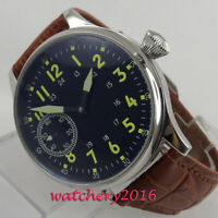 44mm Sterile Luminous Wristwatches Hand Winding Movement Black Dial Men's Watch