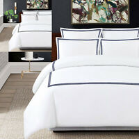 Hotel Quality Embroidered Stripe Duvet Cover Set White Bedding Set All Size