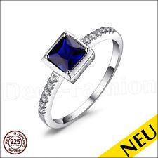 NEU 🌸 Echt 925 Sterling Silber Blau SAPHIR Ring ZIRKONIAS Rhodiniert 🌸 Solitär
