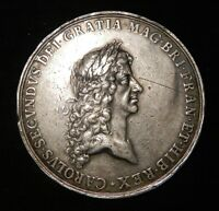 1667 Charles II, Peace of Breda, 56mm, silver, VF, by John Rottier, Eimer 241
