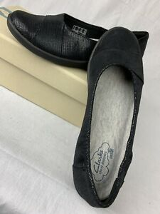Clarks Women's Cloud Steppers Sillian Jetay Black Lizard Flat Shoes