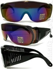 Will Fit Over Most Rx Glasses Sunglasses SMOKE Blue Mirror 101