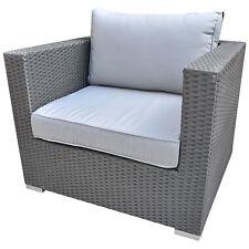 Luxus Gartenmöbel Polyrattan Lounge Sessel Sofa Rattan Anthrazit Kissen Grau