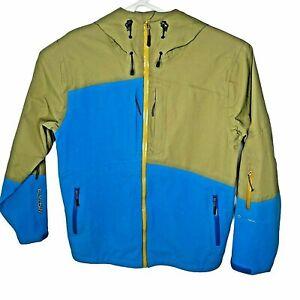 Flylow Mens XS Ski Snowboard Hooded Zip Jacket  Blue Green Intuitive Hard Shell