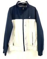 Nautica Men's Full Zip Logo Pullover Neck Spellout Jacket Size Large White Navy