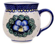 "~Polish Pottery~Belly/Bubble Mug 16oz ""Pansies"" Handmade Manufaktura"