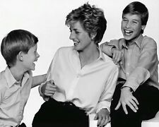 Princess Diana William Harry Laughing 10x8 Photo