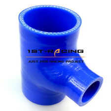 """Silicone T-piece 3 way hose intake/intercooler pipe 2.5"""" inch 63MM 6703 BLUE"""