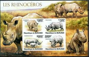 BURUNDI 2011 MNH Imperf SS, Rhino, Wild Animals
