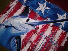 Guy Harvey Mens Medium Red Flag Stars Stripes Patriotic Fish Graphic Tee T-Shirt