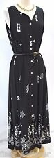 CWC Coldwater Creek black tribal long DRESS Maxi button up dress strappy 12 NEW