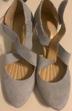 EASY SPIRIT Esrovana Pumps Size US 6 Suede Leather Light Gray Block Heels