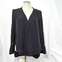 MAGASCHONI COLLECTION BLACK SILK BLEND BLOUSE LONG SLEEVE 4