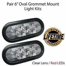 """6"""" Oval LED Light Stop Turn Tail CLEAR/RED Grommet Mount Trailer Truck Semi RV"""