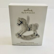Hallmark 2012 Baby's First Christmas Ornament Rocking Horse White Porcelain NEW