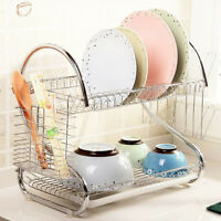 Kitchen Storage Dish Cup 2-Tier Dryer Drying Rack Holder Organizer