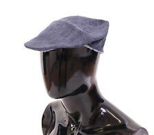 NWT $260 DOLCE & GABBANA Blue Linen Jeans Logo Newsboy Cap Hat Cabbie s. 59 / L