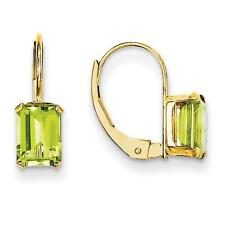 Madi K 14k Yellow Gold Emerald Shape Peridot Prong Set Lever Back Earrings
