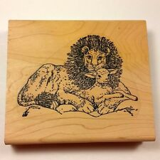 Lion and Lamb Sheep Rubber Stamp Large Background