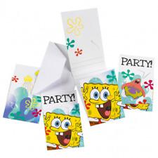 AMSCAN - Lot 6 Cartes invitation + enveloppes Bob l'Eponge