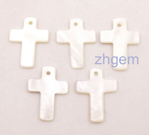 5 PCS Cross Shell Charms   Pendant  Natural White Mother of Pearl 17mmX22mm