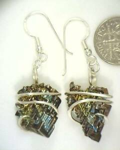 65.52ct Bismuth Crystals in Sterling Silver Art Wrap Earrings