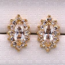 Pretty New 18K Gold Plated Clear White Topaz Marquis CZ Crystal Stud Earrings