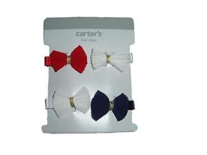 Carter's Baby Girl Red White Blue Collection 4 Hair Clips