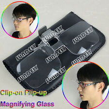 New Flip Up Clip On x2 Magnifying Reading Glasses Eye Magnifiers Lenses Specs