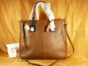 COACH SOFT LEGACY PEBBLED RORY NORTH SOUTH LEATHER TOTE STYLE 25304 NWT