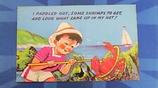 Vintage Comic Postcard 1950s CRAB Fishing Shrimp Net Rock Pool Theme