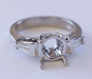 Platinum 950 Bagguette Diamond Engagement Ring Setting