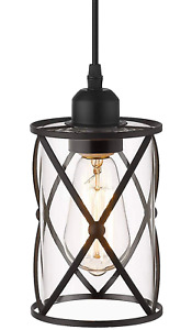 Metal Cage Pendant Light Fixture Industrial Hanging Glass Black Ceiling Clear