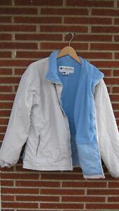 COLUMBIA Women's Size 1X Interchange Core Shell White Blue Vertex Rain Jacket