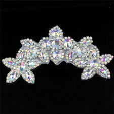Silver AB Rhinestone Applique Trim Sew Iron on Beaded Bridal Dress Sash Craft