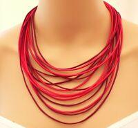 Kette Halskette Collier Statement Textil mehrreihig weinrot dunkelrot rot 393d