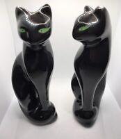 "VTG Pair Black Cats Statue Figurines Green Eyes Brazil 8"" MCM Shelf Sitter"