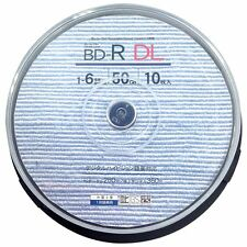 10 3D Bluray BD-R DL 50GB 6x Speed Inkjet Printable No Logo Pro Version by TDK