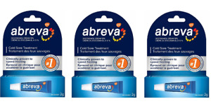 3 Abreva Cold Sore Lip Blister Medicine TUBE Treatment Docosanol Cream 10% 2023