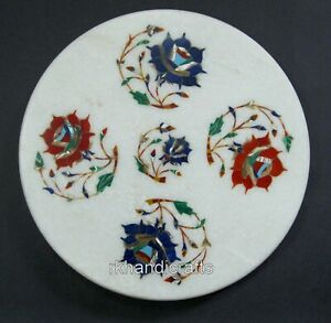 10 Inches Marble Chapati Tortilla Board Inlay Kitchen Chakla with Flowers Design