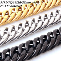 9/11/13/16/20mm Stainless Steel Men's Chain Silver Gold Black Curb Link Bracelet