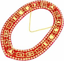 Masonic DELUXE ROYAL ARCH MARK MASTER Metal Chain Collar RED Backing DMR-300GRD