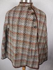 Vintage Welsh Woollens Womens Cape Wool Wales Tapestry Poncho Coat Sz Medium
