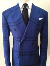 Blue super 150 Cerrutti double breasted wool suit/wide peak lapel/made in Italy